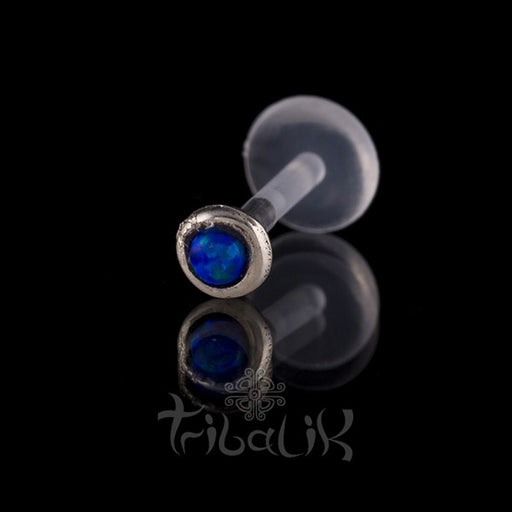 Silver Blue Stone Labret/Tragus Stud