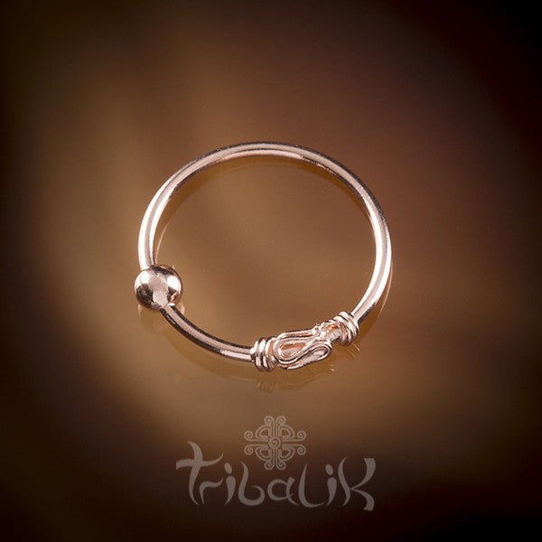 Traditional Indian Rose Gold Plated Silver Nose Ring