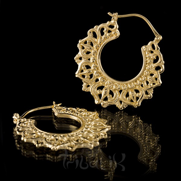 22K Gold Plated 'DIVINE CROWN' Small Hoop Earrings