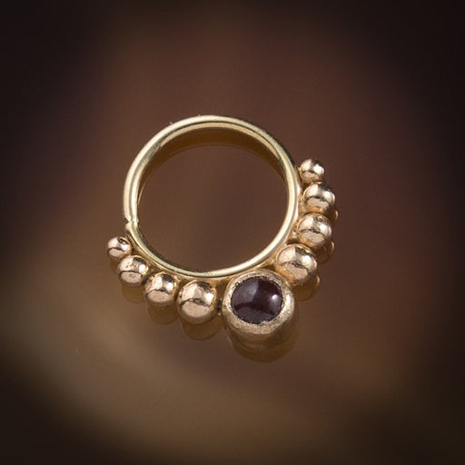 18k Solid Gold Septum Ring with Carnelian