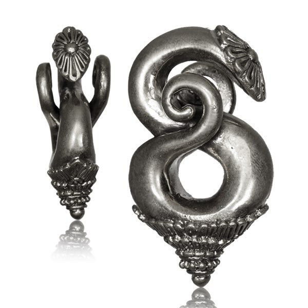 Silver Spiral Ear Weights White Brass LAO