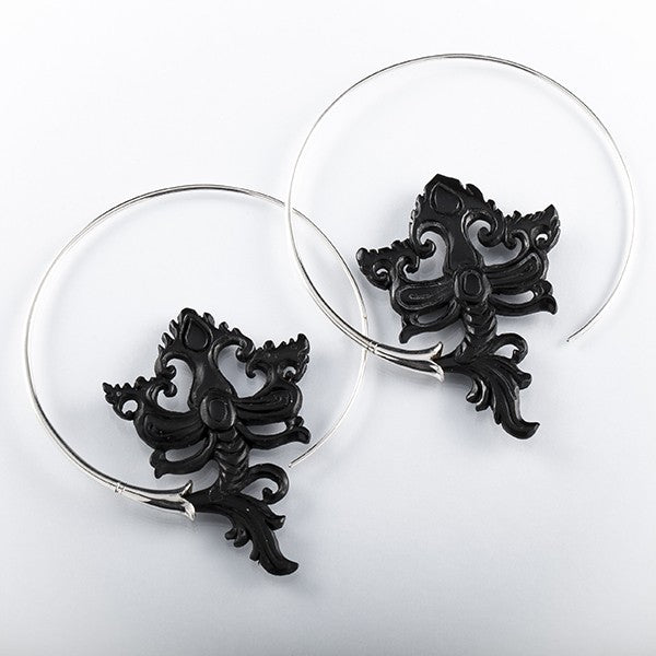 Black Horn Sterling Silver Hoop Earrings- Mandragora