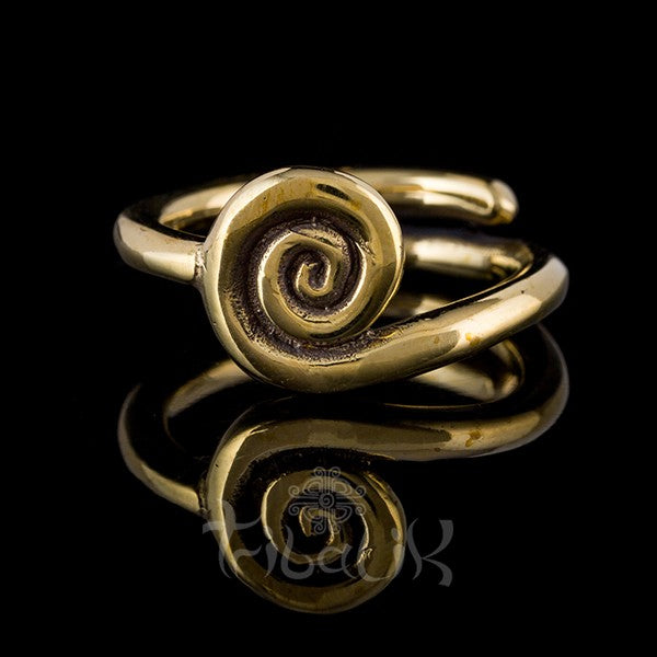 Brass Adjustable Ring | Spiral
