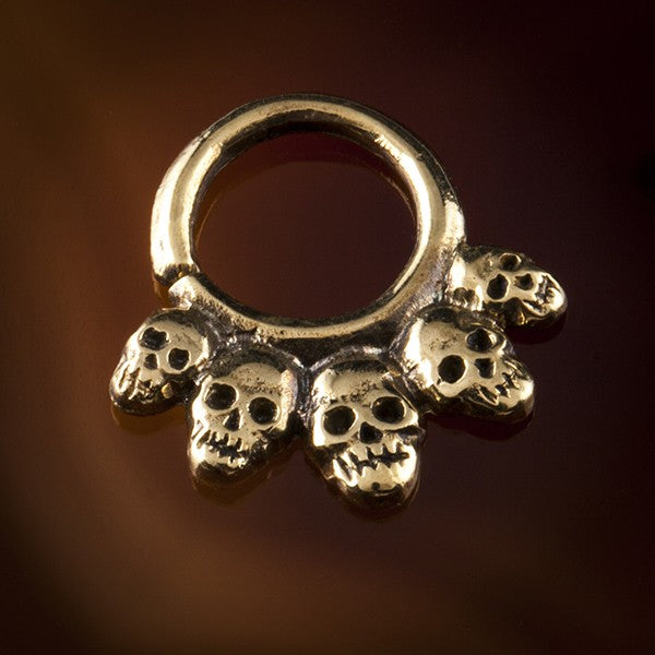 Skull Candy Brass Septum Ring for Pierced Nose - 1mm & 1.6mm