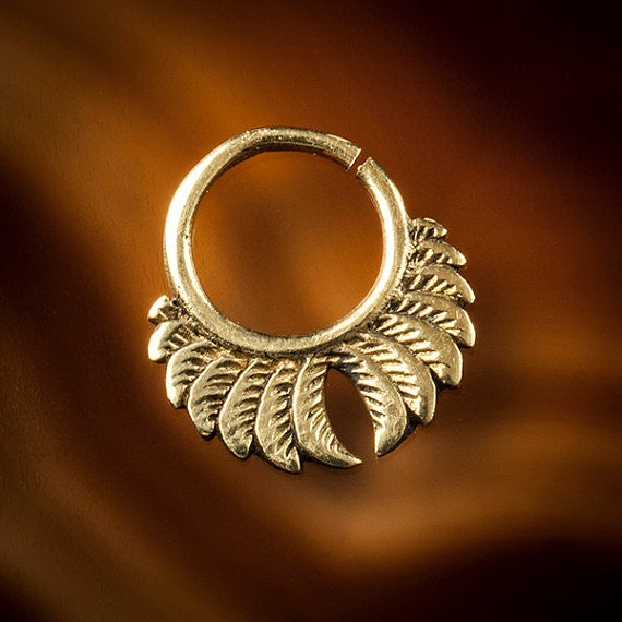 Feather Wings Brass Septum Ring for Pierced Nose - 1mm