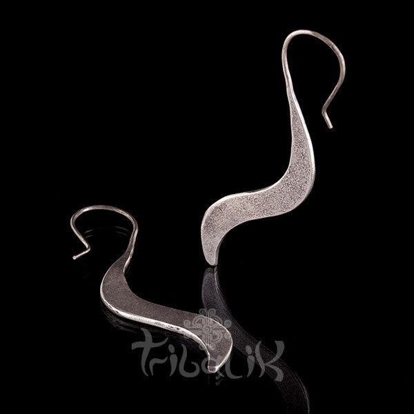 Silver Flat Wave Hook Earrings