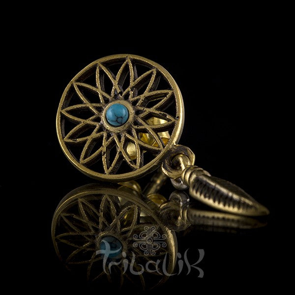 Dream Catcher Turquoise & Brass Ear Studs