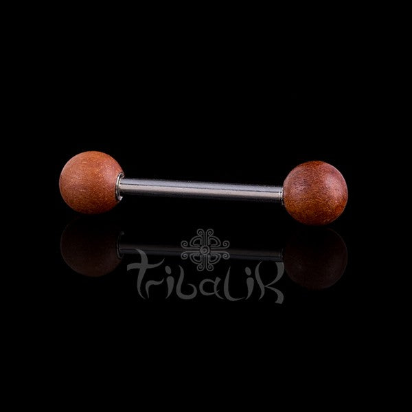 Tamarind Wood Nipple Bar |  Stainless Steel
