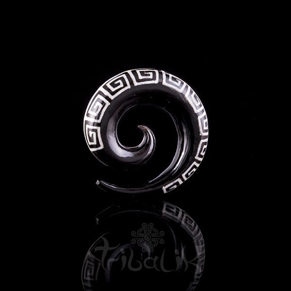 Horn spiral and  bone inlay ear stretcher