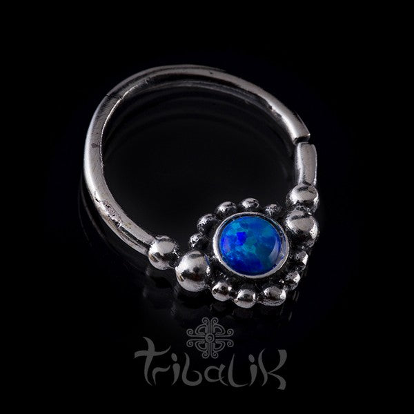 Silver Blue Opalalite Septum Ring For Pierced Nose