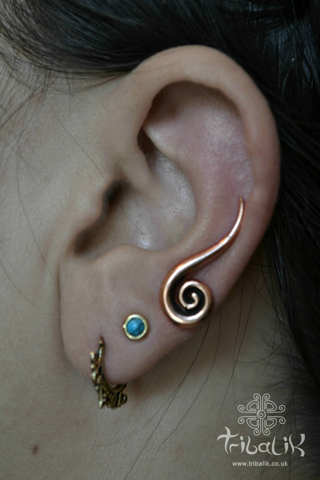 Copper Ear Climber | Spiral