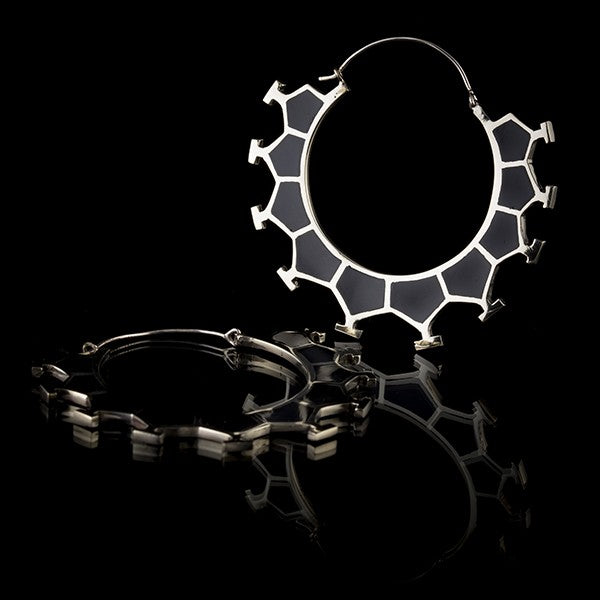 Honeycomb White Brass & Black Resin Earrings, Large- Marama