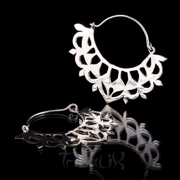 Silver Lotus Hoop Earrings - Silver Clasp