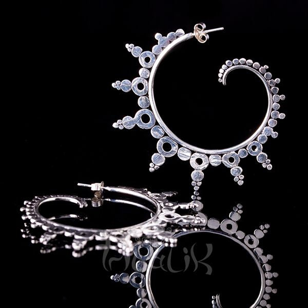 silver plated swirl earrings hoops