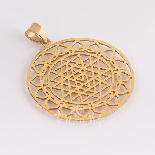 Gold Vermeil Sri Yantra Pendant with Lotus Petals