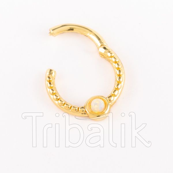 Gold Plated Stainless Steel Septum Clicker with Opalite
