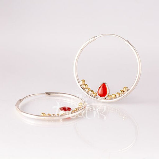 Silver Earrings with Carnelian Teardrop- Mata Hari