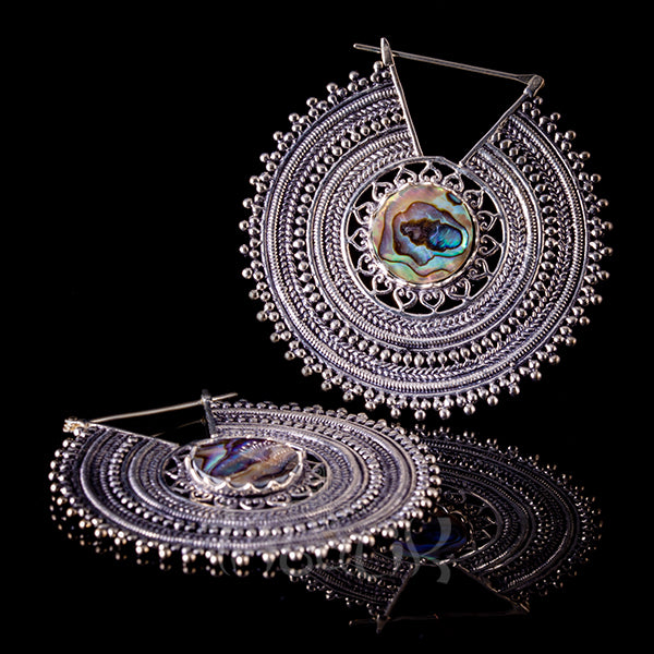 Silver Plated Earrings With Abalone Shell - Kulamaata