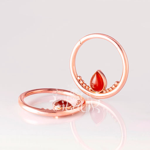 Rose Gold Ear Weights for 4mm with Carnelian Teardrop- Mata Hari