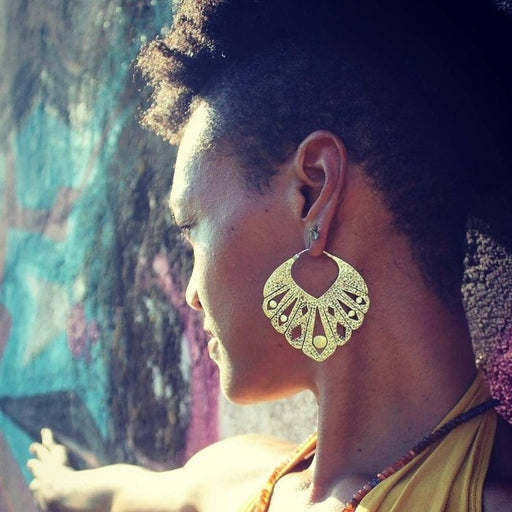 Elegant Tribal Brass Pattern Earrings- Maya