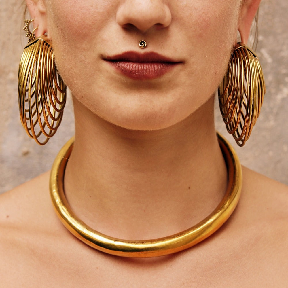 Dimensional Brass Hoop Earrings- Infinite 3
