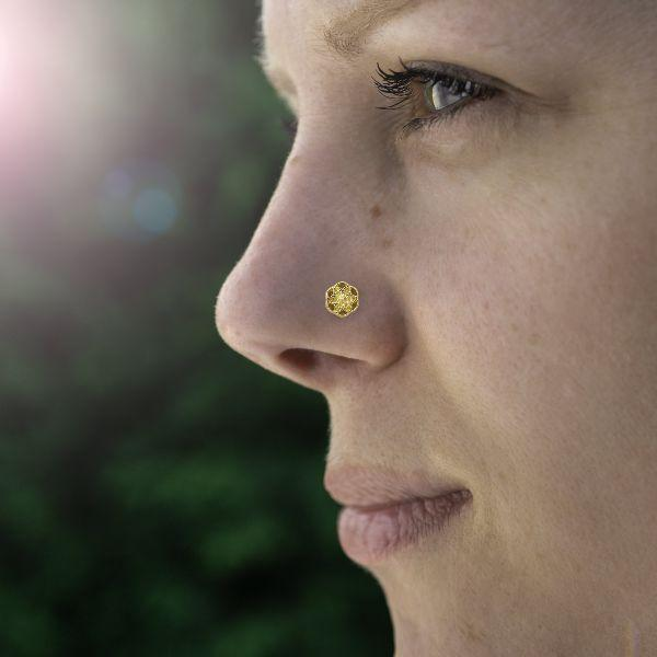 Threadless Nose Stud Gold Plated- Seed of Life