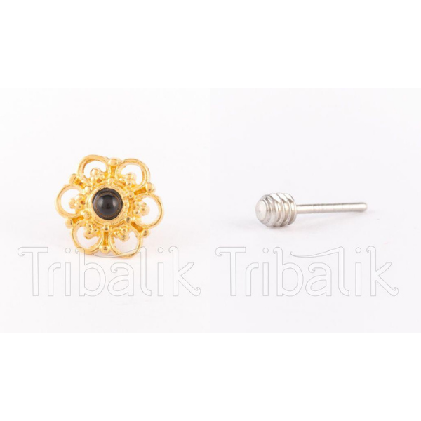 Threadless End Gold Plated Flower with Black Onyx