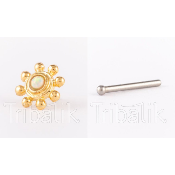 Threadless Nose Stud Gold Plated Dotted Star with Opalite Stone