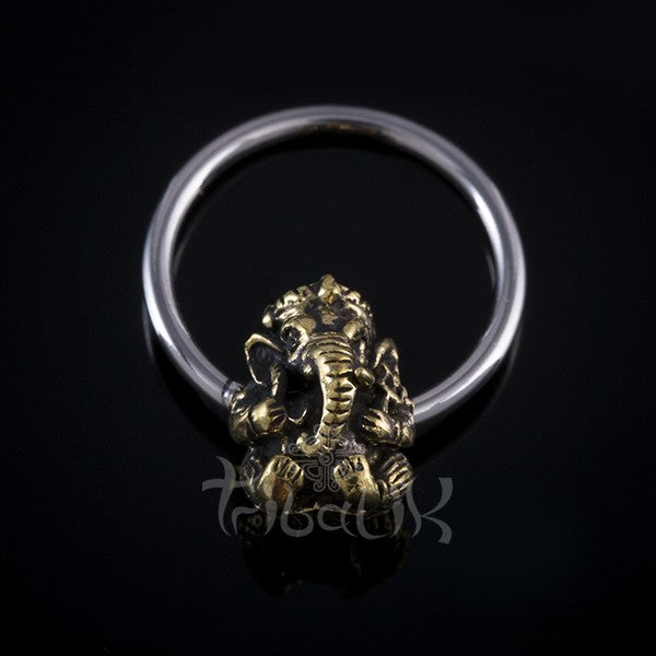 silver ganesh body ring