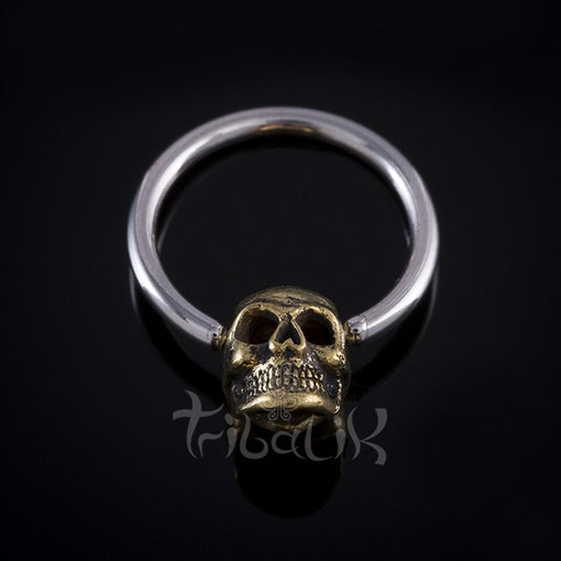 silver and brass septum ring