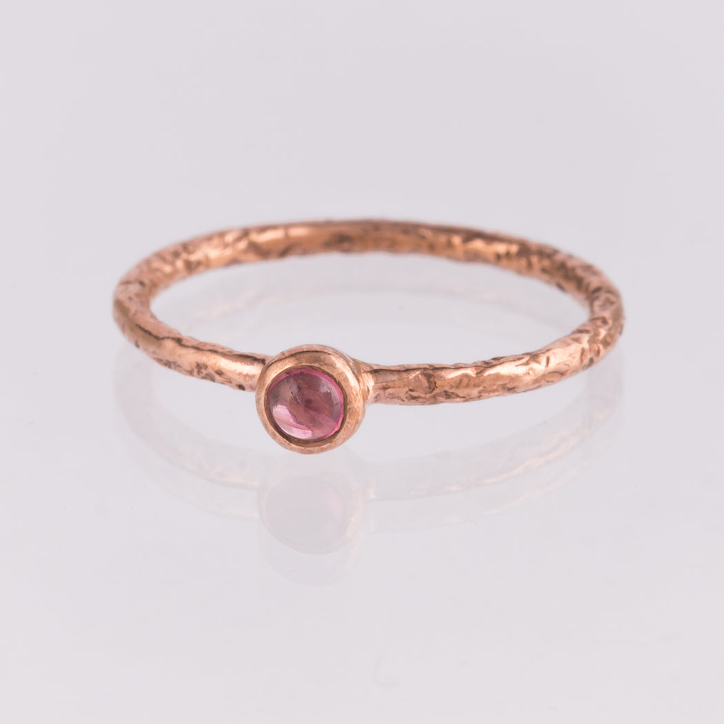 rose plated tourmaline crystal ring