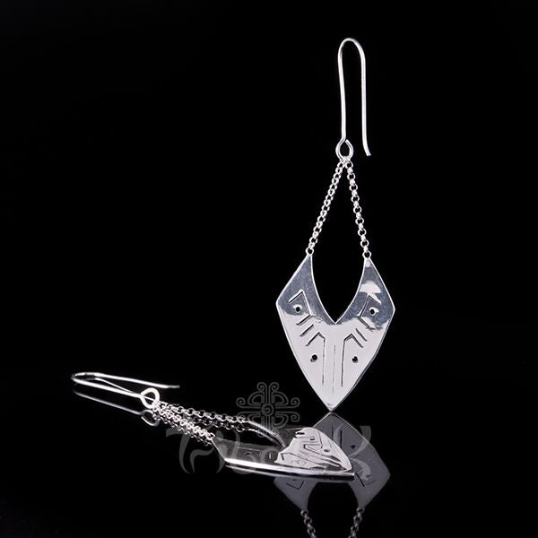 silver plated dangle earrings triangle