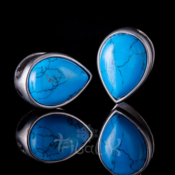 turquoise and silver ear weights tunnels