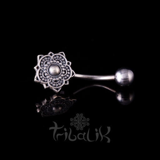 dotted flower mandala navel bar