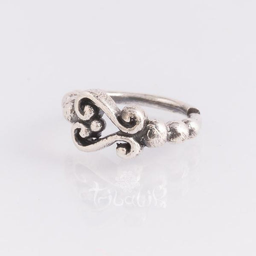 Sterling silver piercing ring for various piercings- Ornate swirl
