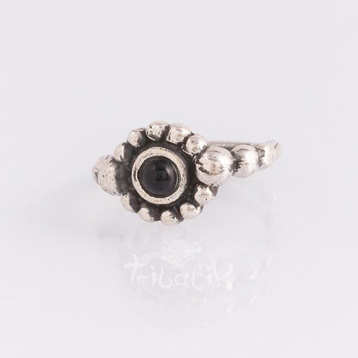 silver piercing ring black stone