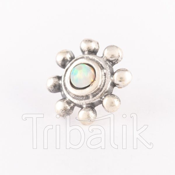 silver threadless end opalite
