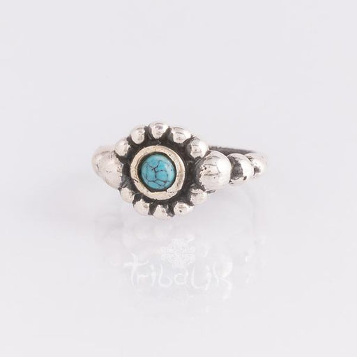 Sterling silver piercing ring for various piercings- Turquoise stone