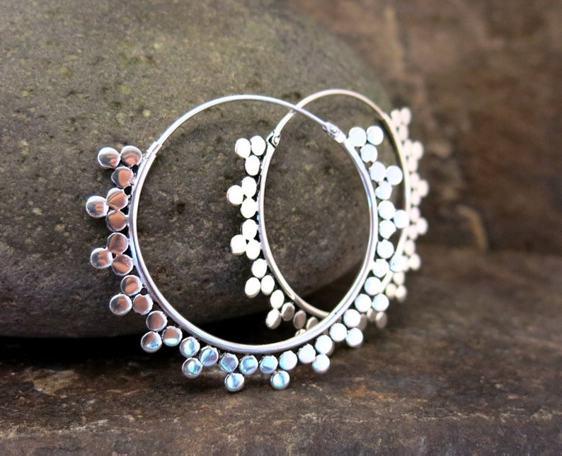 Afghanistan inspired silver plated earrings