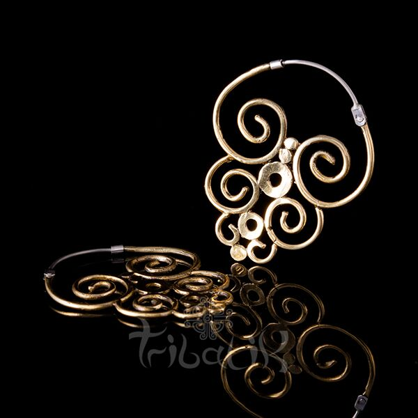 gold brass earrings tribal pattern