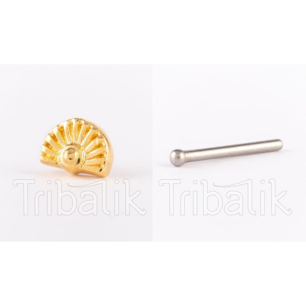 Threadless Nose Stud Gold Plated- Fan design