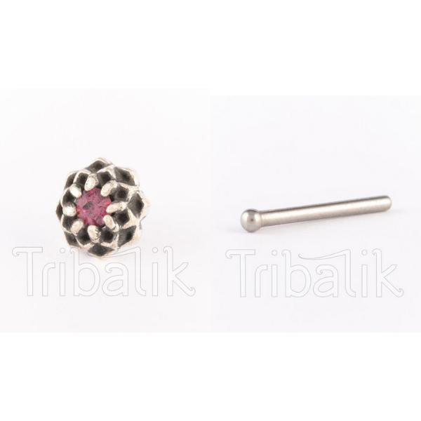 Silver Threadless Nose Stud - Swarovski Crystal