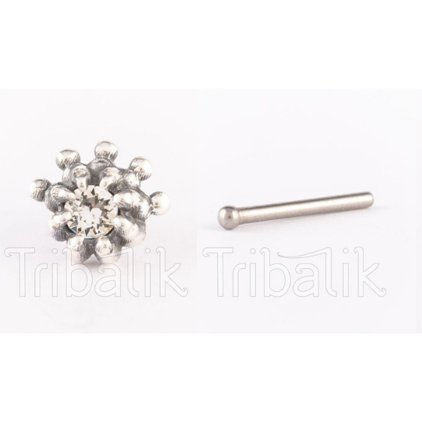 Silver Threadless Nose Stud Crystal Claw