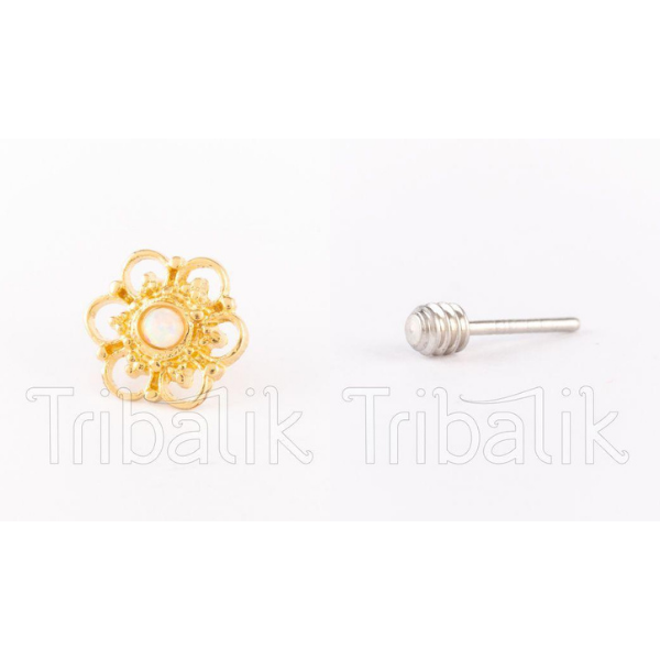 Threadless End Gold Plated Flower Opalite