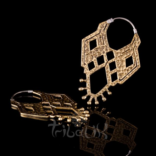 gold brass toltec earrings tribalik