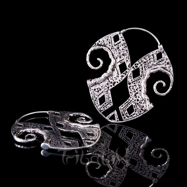 Silver plated inca ancient earrings