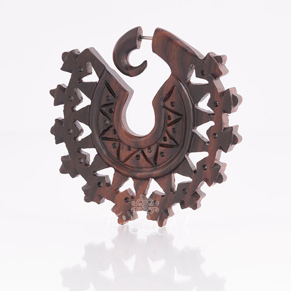 Wooden Fake Gauge Mandala Earring- Tlatoani