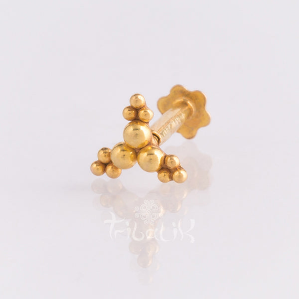 dot detail threaded pin body jewellery 14k gold Tribalik