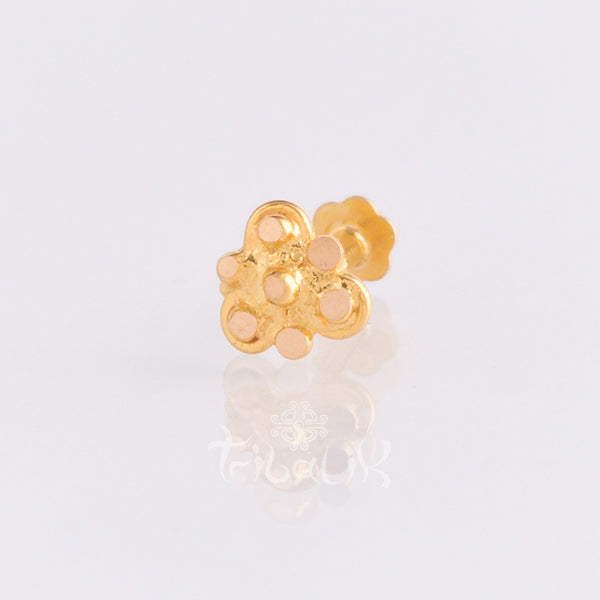 gold labret nose stud threaded pin