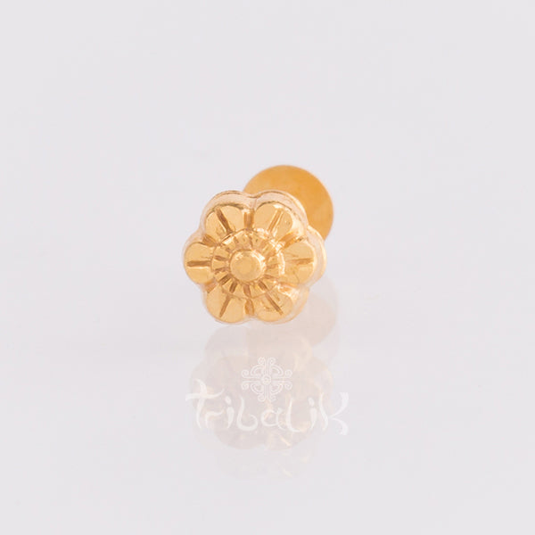 gold flower threaded pin body jewellery labret